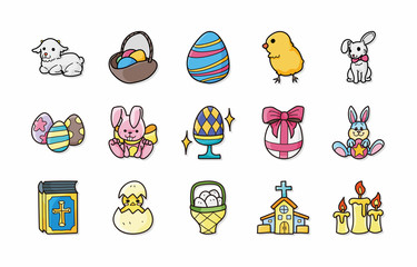 Happy easter icons set,eps10