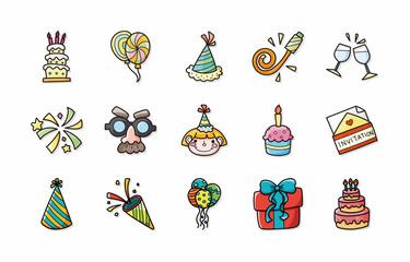 Birthday and celebrate icons set,eps10
