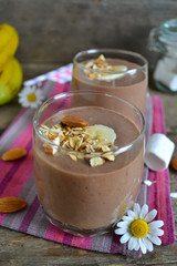 Chocolate smoothie with banana, oatmeal, almonds and marshmallow