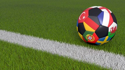 Soccer ball on grass with segments depicting the european national teams