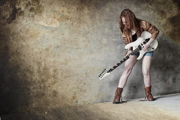 guitar electric girl play