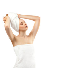 Young Beautiful Woman in White a Towel on the Head and Body,on a