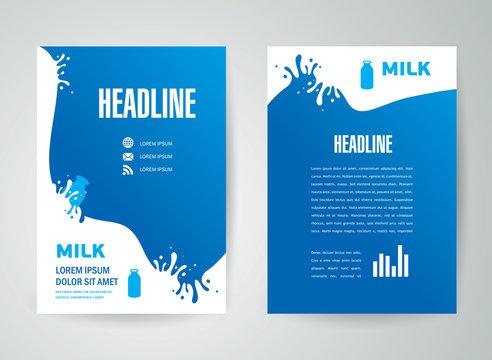 flyer brochure design template milk splash liquid drops element