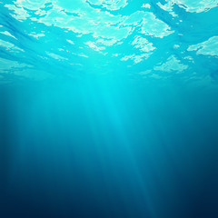 Underwater view of the sea surface with light rays. 3d illustration