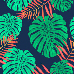 Monstera leaves seamless pattern. Vector tropical botanical illustration.