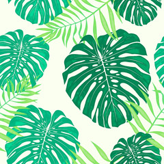Monstera leaves seamless pattern. Vector tropical botanical illustration.