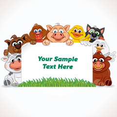 Farm Animals with Sign. Vector