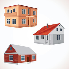Set of 3D Vector House Icons. Buildings Set