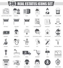Vector Real estates black icon set. Dark grey classic icon design for web.