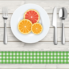 Wood Cloth Knife Fork Spoon Plate Citrus Fruits