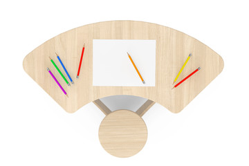 Wooden Study Kid Desk with Pencils and Picture Paper. 3d Renderi