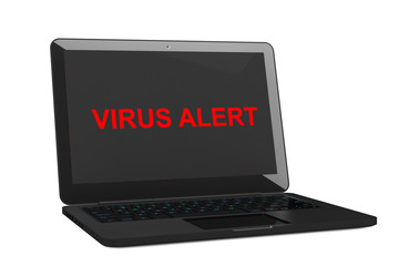 Mobile Security Concept. Virus Infected Laptop. 3d Rendering