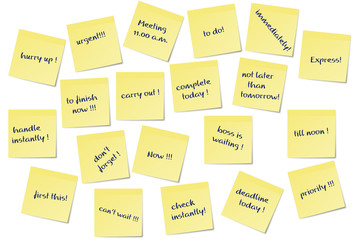 stress during the job symbolized by post it notes