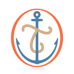 T letter logo formed by rope with an anchor.