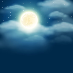 Night background with moon, stars and clouds on dark blue sky