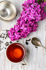 Fototapete - Stylish metal cup of tea