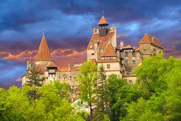 Fotobehang Kasteel Historic Dracula castle, famous legendary and medieval castle of Bran in Romania - Europe