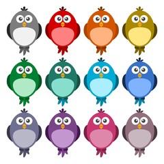 Cute color birds set