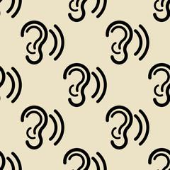 Icono plano patrón con escuchar sobre fondo beige