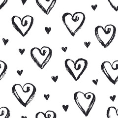 Dry brush texture. Hand drawn black ink hearts isolated on white background. Seamless pattern. Romantic monochrome design.