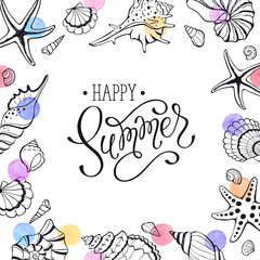 Happy summer greeting card with seashells on white background. Square frame from hand drawn sea shells and stars.