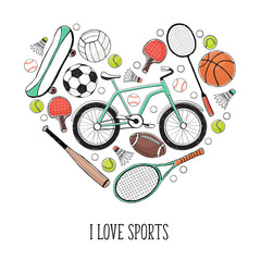 Collection of vector sport equipment. I love sports illustration. Hand drawn sport balls, rackets, bycicle isolated on white background.