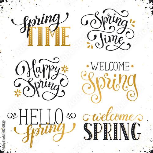 Hand written spring time phrases in white and gold greeting card hand written spring time phrases in white and gold greeting card text templates isolated on m4hsunfo