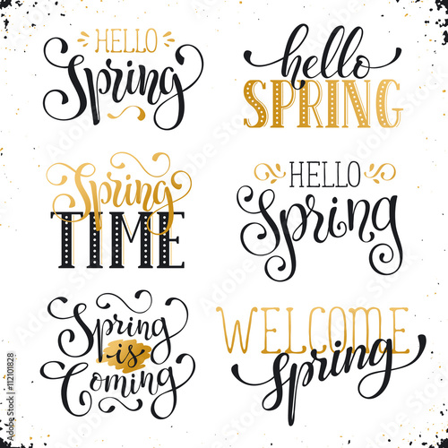Hand written spring time phrases in white and gold greeting card hand written spring time phrases in white and gold greeting card text templates on blackboard m4hsunfo