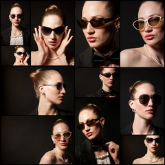 Portraits of beautiful young woman with sunglasses on black back
