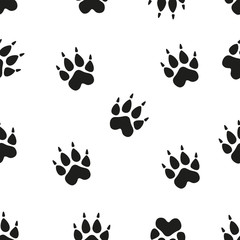 Animal - birds and mammals footprints silhouettes set isolated on white background.