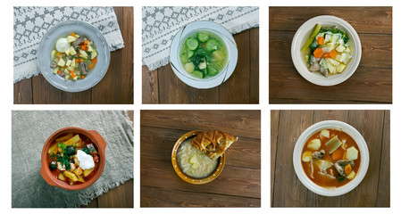 set of different traditional soups