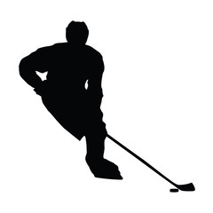 Hockey player vector silhouette, front view, ice hockey winter s