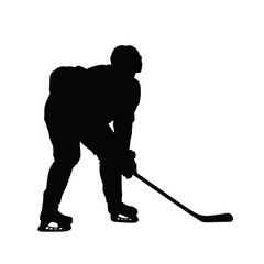 Silhouette of ice hockey player