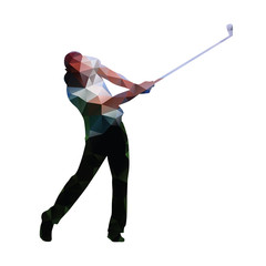 Golf. Abstract geometric golf player. Polygonal golfer silhouett