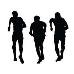 Runners are afoot in endurance race. Silhouettes of running men