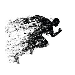 Splash runner silhouette, ink running man. Grungy vector silhoue