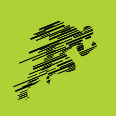Run, running man from lines, abstract vector silhouette. Runner