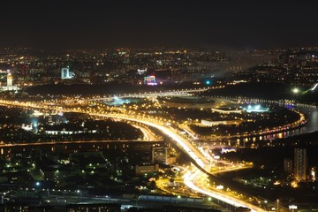 A bird's eye view of the Moscow city at night