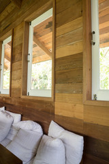 Wooden interior living room with window