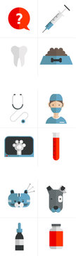 Set of vet and animal medical icons: syringe, question bubble, dog food, tooth, vet, doctor, stethoscope, test tube, x-ray, Bandaged dog, acupuncture for cat, vitamin bottle, dropper