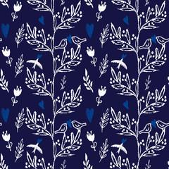 Dark blue seamless pattern flowers and birds