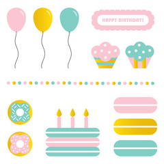 Cute colorful birthday party sweets and decoration isolated on white background. Birthday party illustration set, collection.