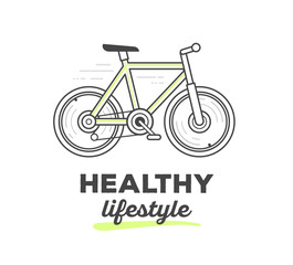 Vector illustration of creative sport bicycle with text on white