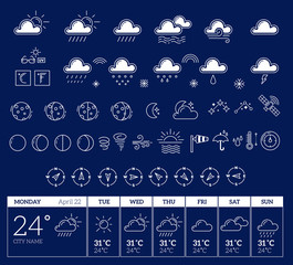 Vector illustration of white weather theme big icon set with wee