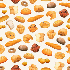 Seamless Bakery Icons Background