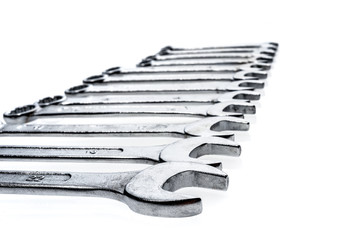 Set of wrenches isolated on white background
