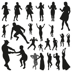 Disco Vector Illustration. Set of Dancing People Silhouettes