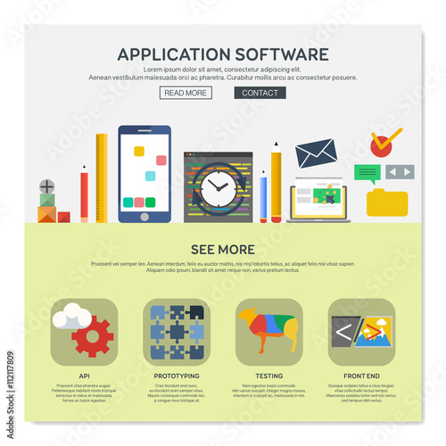 One page web design template with application software for App layout design software