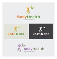 Logo Icône Corps Feuillage Santé Carte de Visite et Charte Graphique Entreprise Plusieurs Couleurs