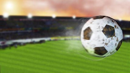 3d illustration of flying football leaving a trail of smoke. Spinning dirty soccer ball, selerctive focus.